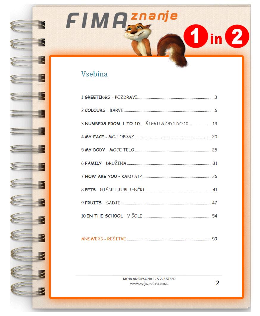 Vaje angleščine za 1. in 2. razred (PDF)